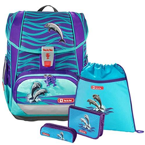 Happy Dolphins - Delfin - Schulranzen-Set 4 TLG. Light 2, Hama Step by Step