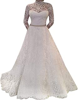b71205826ce35 Nevera Women's Long Sleeve Lace Fitted Wedding Dresses Bridal Party Evening  A-line Dress