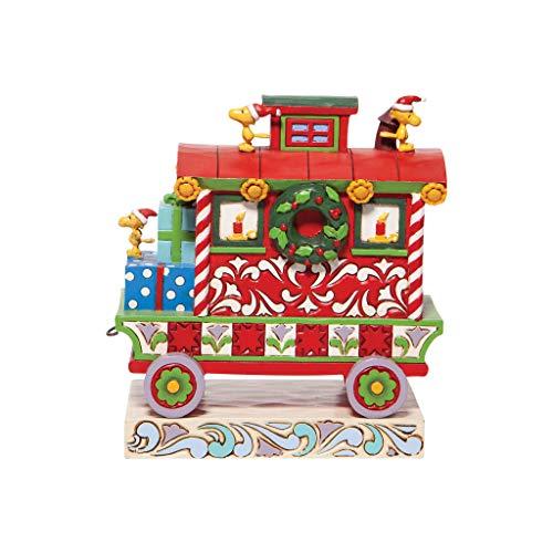 Enesco Jim Shore Peanuts Woodstock's Christmas Train Caboose Figurine, Multicolor