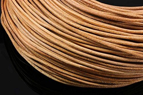 INWARIA Lederband Ø 1/2/3 mm Natur rauh Lederriemen Rindsleder rund Lederschnur (2mm - 5m,...