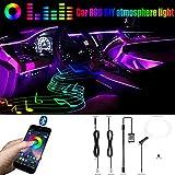 QAUBEN Iluminación Ambiental para automóvil Cable de Fibra óptica 8 Colores Música Sonido Activo con Control de APLICACIÓN Kit de iluminación de atmósfera Decorativa para automóvil DC 12V 1W 3m