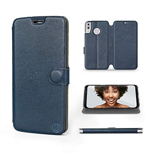 Mobiwear | Echt Lederhülle | Kompatibel mit Asus Zenfone 5Z ZS620KL, Made in EU handyhülle, Slim Leather Hülle, Premium Flip Schutzhülle, Transparent TPU Silicon, Book Style, Tasche - Blaues Leder
