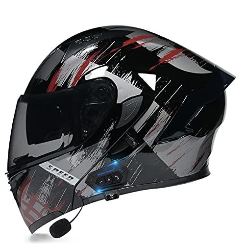 NS Casco Moto Bluetooth Flip Motocross Casco Integral para Adultos Hombres Mujeres con Visera Doble Antivaho Moto Walkie Integrado Modular Casco Locomotora (Color : T, Size : XL)