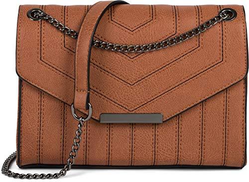 styleBREAKER dames schoudertas met siernaden en ketting, schoudertas, handtas, tas 02012308, Farbe:Cognac