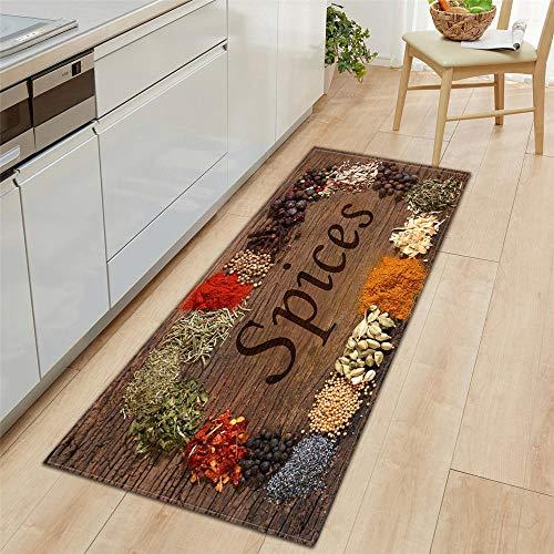 Küchenläufer Waschbar rutschfest Küchenmatte, 7MM Dicke Braune Holzmaserung rutschfeste Matte für Küche und Bar Teppich Läufer waschbare Küchenläufer Küche Deko, 60x180cm
