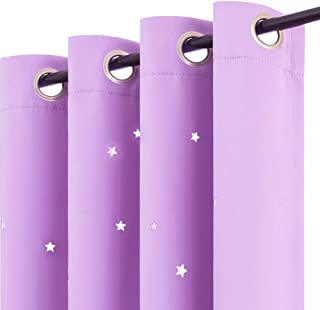 Nursery Blackout Curtains Kids Room Darkenings for Bedroom 63 inches Long Twinkle Star Laser Lilac Draperies for Living Room Grommet Top Thermal Insulated Window Treatment Set 2 Panels
