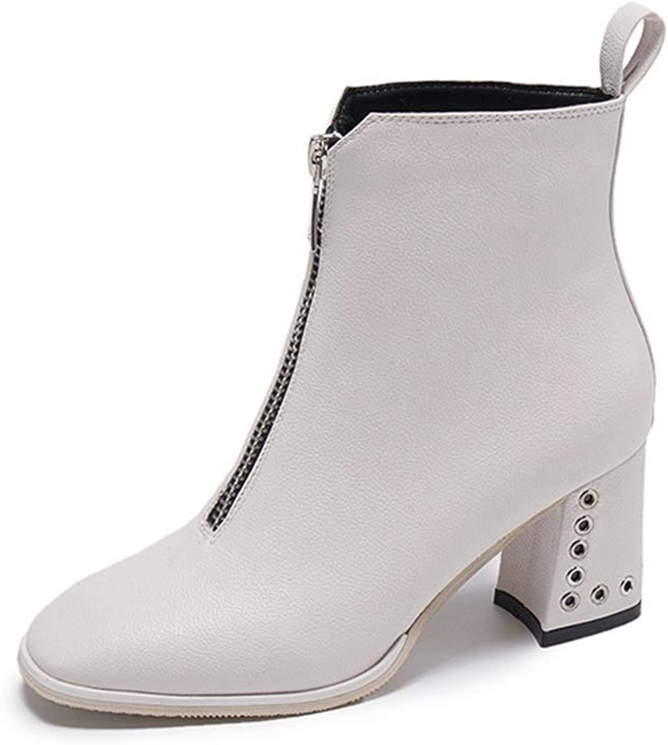 SANOMY Front Zipper Chelsea Booties for Women Metal Circle Rivets Chunky High Heels Warm Plush Leather Ankle Boots