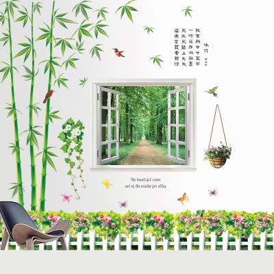 Bambus Hügel Tuschemalerei kreative Wandpapier klebrig Wandaufkleber Wohnzimmer, Bambus Fenster Sockel Linie, Aufmaß