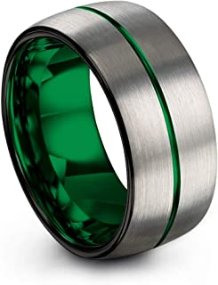 Tungsten Carbide Wedding Band Ring 10mm for Men Women Green Red Fuchsia Copper Teal Blue Purple Black Center Line Dome Grey Brushed Polished