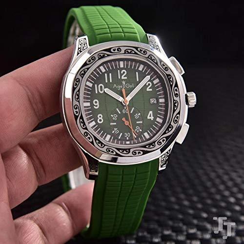 GFDSA Automatische horloges Luxe merk Heren Automatisch mechanisch Zilver Gesneden oude kast Zwart Blauw Rubber Saffierglas Achter Limited Sporthorloge