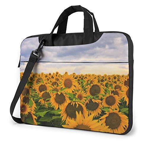 15.6 inch Laptop Shoulder Briefcase Messenger Sunflower Field Tablet Bussiness Carrying Handbag Case Sleeve