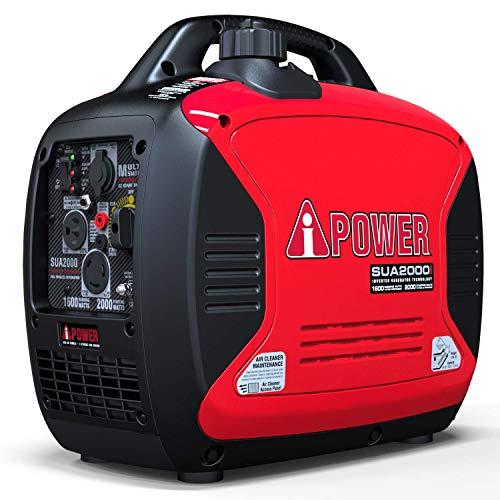 A-iPower SUA2000iV Super Quiet 2000-Watt Portable Inverter Generator CARB/EPA, 2000 Watt, RV Ready (Renewed)