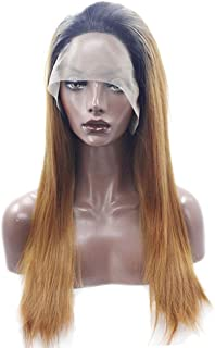 Fashian Gradient Gold Long Straight Hair Synthetic Lace Front Wig Women DIY Fun (Color : Photo Color)