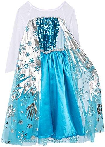 """Costume bambina """"Regina del Ghiaccio/Principessa delle Nevi"""" con fantasia a fiocchi di neve – Blu/Argento/Bianco - Tg. 120 (110-116)"""
