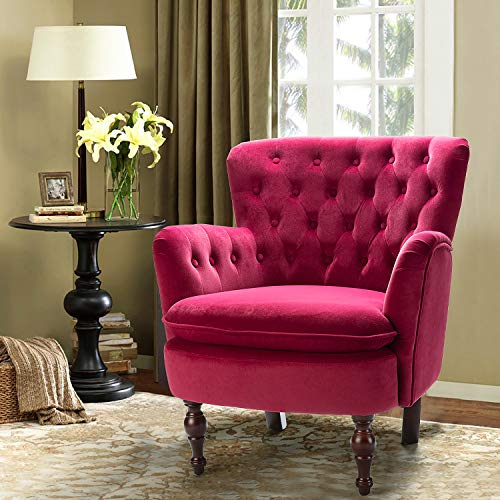 Fuchsia Velvet Tufted Arm Chair/Isabella Small Accent Chair for Lving Room Bedroom