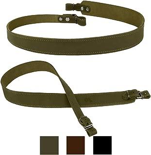 BRONZEDOG Genuine Leather Rifle Sling Adjustable Shotgun Belt Durable Hunting Strap