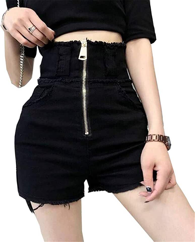 Yehopere Women Shorts Jeans Sexy High Waist Short Denim Jeans Summer Club Black Jeans