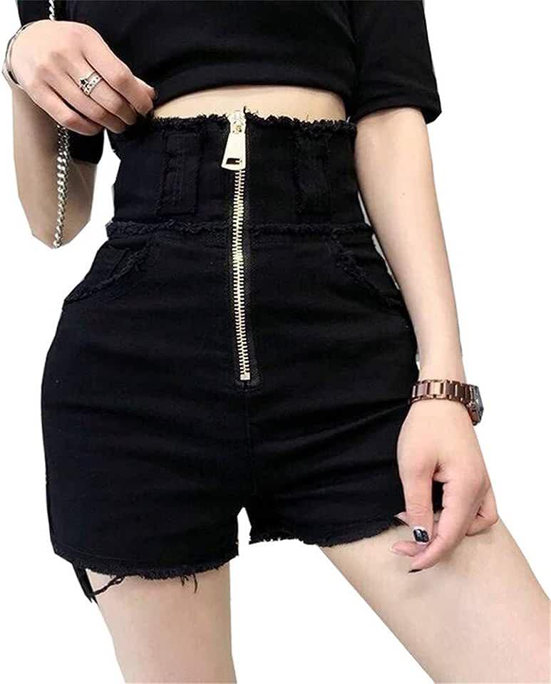 Yehopere Women Shorts Jeans Sexy High Waist Short Denim Jeans Summer Club Black Jeans