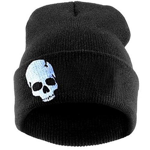 Thenice Women's Winter Wool Cap Hip hop Knitting Skull hat (Skeleton White)
