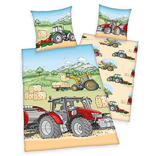 Arle-Living Kinder Wende Bettwäsche Traktor 135x200 cm + 80x80 cm (Renforcé)