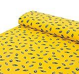 Nadeltraum Baumwoll - Jersey Stoff Federn gelb - Meterware