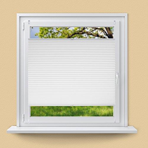 ECD Germany Plissee 90 x 200 cm - Weiß - Klemmfix - EasyFix - ohne Bohren - Sonnen- und Sichtschutz - für Fenster und Tür - inkl. Befestigungsmaterial - Jalousie Faltrollo Fensterrollo Rollo