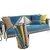 Funda Protectora para Muebles con Correas de Chenilla de Lados Anchos,Funda de Almohada en Forma de L para sofá,Protector para Mascotas,Azul,45 * 45