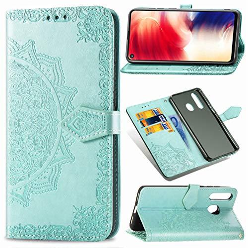 LingDan Schutzhülle für Samsung Galaxy A8s SM-G8870 (6,4 Zoll) PU Lederhülle Flip Cover Präge Mandala Muster mit Ständer Magnetverschluss Kartensteckplatz Brieftasche Handytasche, Grün