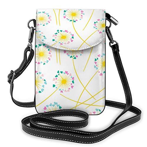 Generic Pusteblume blühende Pflanze, nahtloses Muster, Vektorbild, kleine Umhängetasche, Handtasche – Frauen PU-Leder Handtasche mit verstellbarem Riemen für den Alltag