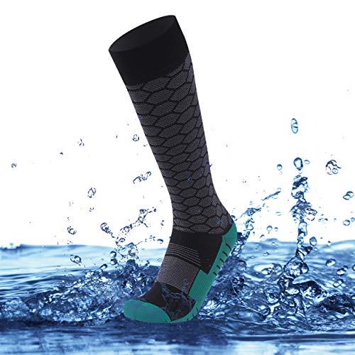 SuMade 100% Waterproof Socks, Rain Boot Socks for Women Youth Summer Breathable Knee High Cushioned Moisture Wicking Fashion Cycling Hiking Camping Fishing Socks 1 Pair (Black&Green, Small)