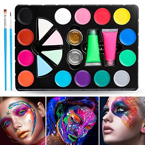Janolia 18 Colors Pintura Facial, Pintura Corporal con 14 Colores Normales, 2 Fluorescentes y 2 Purpurinas, Maquillaje para Cuerpo Profesional, Colorantes Naturales y Seguros para Niños y Adul