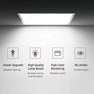 Chessleep LED Flat Panel Light, 36W 2350 Lumens Square Panel Light, 3200K (Warm White) LED Drop Ceiling Light Fixture for Kitchen, Hallway, Bathroom, Stairwell.…