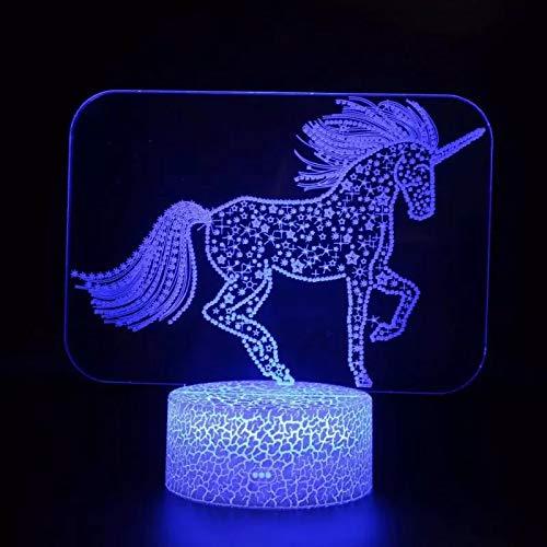 Caballo de mascota de dibujos animados de moda luz de visión 3D luz led multicolor base táctil decoración luz nocturna lámpara de mesa pequeña
