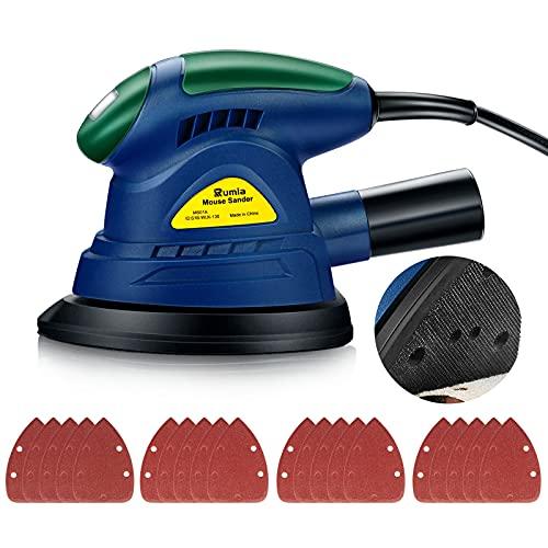 Rumia Lijadora Mouse, Lijadora Eléctrica 13000 RPM y 130W de potencia, 20PCS Lija (180/120/100/80 Grano), equipada con un adaptador de eliminación de polvo para conectar la aspiradora