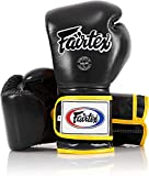 Fairtex Muay Thai Boxing Gloves BGV9 - Heavy Hitter Mexican Style - Minor Change Black with Yellow Piping 12 14 16 oz. Training & Sparring Gloves for Kick Boxing MMA K1 (Black/Yellow Piping, 16oz)
