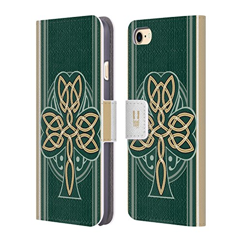 Head Case Designs Dara Knot Celtic Shamrock Leather Book Wallet Case Cover Compatible for Apple iPhone 7 / iPhone 8 / iPhone SE 2020