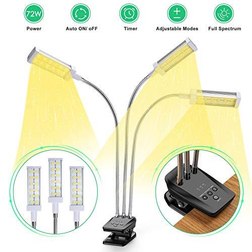 Vogek Pflanzenlampe Vollspektrum, Vogek 72W Grow Lampe für Zimmerpflanzen, 144 LEDs Pflanzenlicht mit Timing Funktion, 3 Timer 3/6/12H, 3 Arten von Modus, 10 Helligkeitsstufen