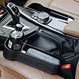SICOTOOL Car Seat Pockets 2 Pack Console Side Organier Microfiber PU Leather Car Seat Gap Storage Box Multifunctional with Cup Holder for Cellphone,Cards,Wallet,Charging Cable, etc.