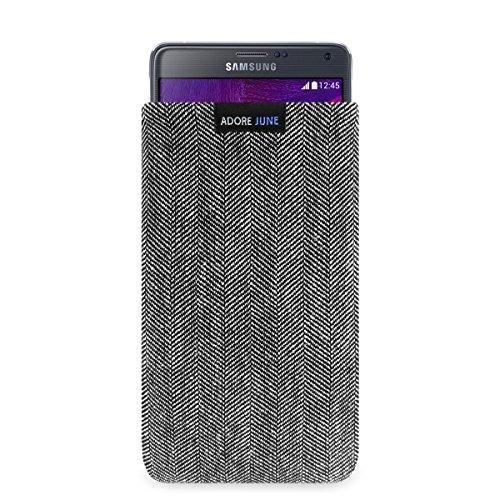 Adore June Business Tasche für Samsung Galaxy Note 4 Handytasche aus charakteristischem Fischgrat Stoff - Grau/Schwarz | Schutztasche Zubehör mit Bildschirm Reinigungs-Effekt | Made in Europe
