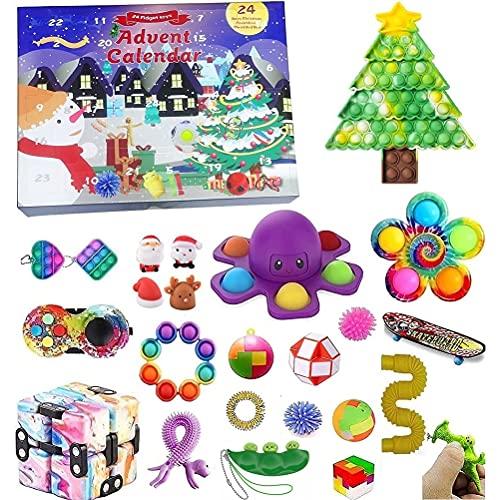 TAIPPAN Calendrier de l'avent Fidgets Toys, 24 pcs Pop it Fidget Sensory Toys, Coffret Cadeau de Noël pour Enfants, Pack de Jouets Anti-Stress et Anti-anxiété, Cadeaux de Noël, Cadeaux du Nouvel an