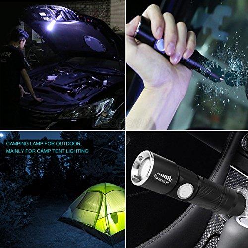 BECROWMEU AutoXscape - Linterna de Emergencia para Coche (Recargable, 350 lúmenes, LED, para 12 V, Carga de vechícula, portátil, con Carga de Coche y Herramienta de Supervivencia al Aire Libre)