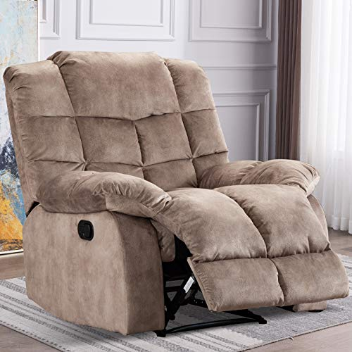 ANJ Home Single Recliner Chairs for Living Room Overstuffed Breathable Small Fabric Reclining Chair Manual Sofas (Camel)