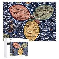 INOV エルサレム(1581年) 旗布 クローバー 葉 地図 ジグソーパズル 木製パズル 500ピース キッズ 学習 認知 玩具 大人 ブレインティー 知育 puzzle (38 x 52 cm)