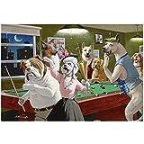 QWEAASD Arthur Saron Sarnoff Dogs Jugando Piscina Art Poster Cuadros al óleo, lienzo para pared arte sala de estar decoración del hogar -60 x 90 cm sin marco