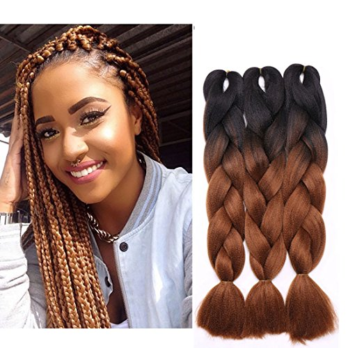 3Pcs Extensions de cheveux à tresser 60cm Extension Cheveux Tresse Braiding Hair Tressage synthétique Braids Postiche Noir à brun rouge