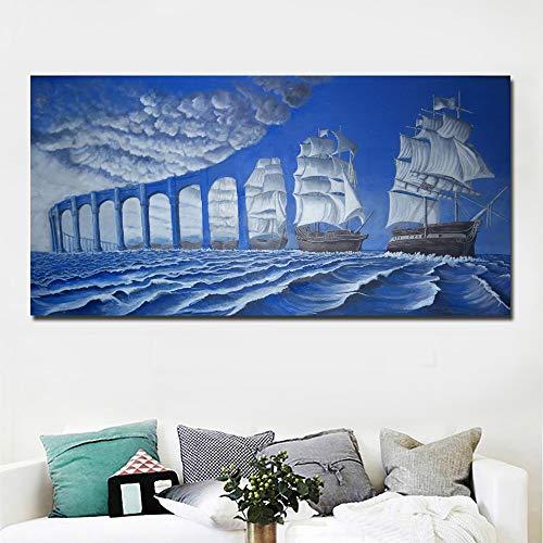 QUANGE Abstrakte Kunst Moderne Surrealismus Gemälde Blaue Brücke und Meer Gemälde gedruckt auf Leinwand Wall Art Print Poster Home Decor 40 x 80 cm, ohne Rahmen.