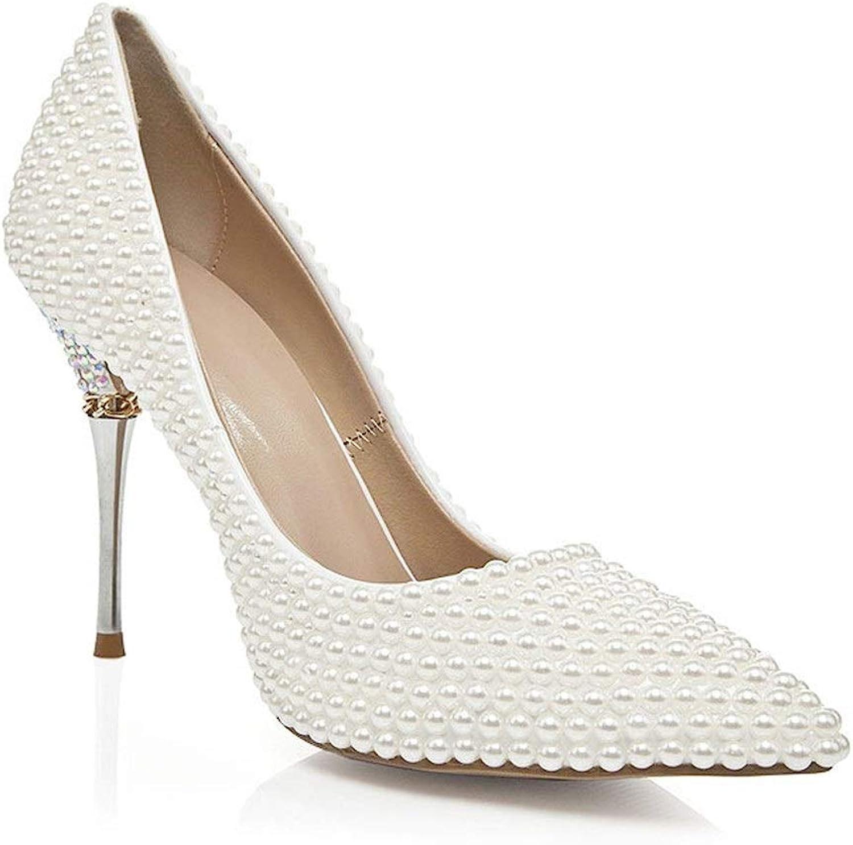 From HandMade HandMade Mode Hochzeit Pumpen für Frauen Perlen  Strass Dekor Slip on Sandalen Kleid Party Schuhe Spitz 10cm High Heels (Farbe   Weiß, Größe   36 EU)  70% günstiger