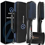 Arkam Deluxe Beard Straightener for Men - Ionic Beard Straightening Comb, Anti-Scald Feature, Hair Straightener for Men, Portable Beard Brush Straightener, Premium Travel Case & Beard Comb Included