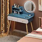 Muebles de dormitorio Mesa para niña, tocador LED, espejo de maquillaje circular, 2 tabletas de vestidor,Blue