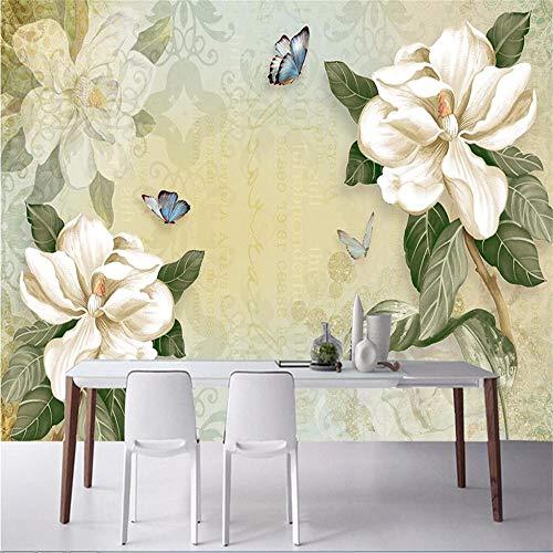 Fototapete Wandbild Hintergrund 3d TapetenBenutzerdefinierte Tapete 3d Stereo Retro Blumen Schmetterling TV Hintergrund Wand Wohnzimmer Schlafzimmer dekorative Tapeten Wandbild-Über 400 * 280 cm
